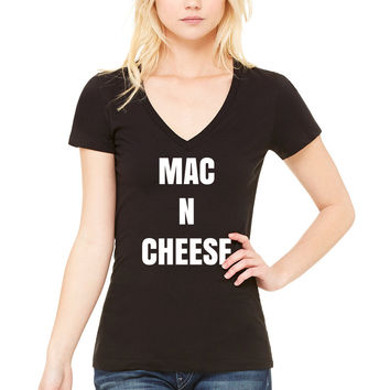 """Mac N Cheese"" Women's V-Neck T-Shirt"
