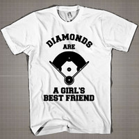 Diamonds Are A Girls Best Friend baseball  Mens and Women T-Shirt Available Color Black And White
