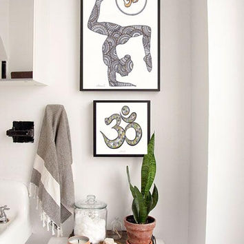 Asana Poster, Silhouette Painting, Yoga Studio Wall decor, Om Painting Yoga Asana Om Drawing Wall decor Zentangle Art Om symbol sign Drawing