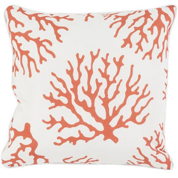 Outdoor Orange Coral Print Pillow