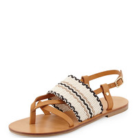Keena Leather Thong Sandal, Tan/Ivory - See by Chloe - Tan/Ivory