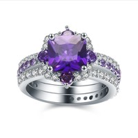 H:HYDE Creative Fashion Female Bague Jewelry 3pcs Wedding Engagement Purple Rings for Women Jewelry Bijoux Anel Ring Size 6 7 8