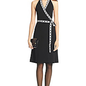 DVF Halter Embellished Chain Link Wrap Dress