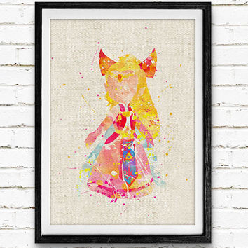 Princess Zelda Watercolor Art Print, Baby Room, Nursery Wall Art, Home Decor, Not Framed, Buy 2 Get 1 Free!