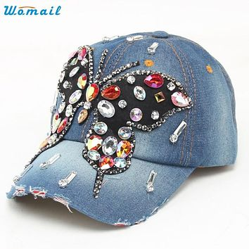 Trendy Style Fashion New Fashion Women Butterfly Hip-Hop Baseball Cap Full Rhinestones Flat Snapback Hat  Gift 1PC