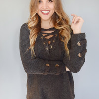 Evergreen Lace Up Sweater Charcoal