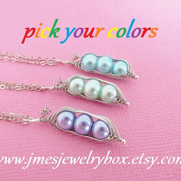 Three peas in a pod best friend necklace set - Choose your colors! Made to order