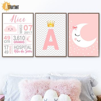 Pink Cloud Moon Crown Letter Nordic Posters And Prints Wall Art Canvas Painting Wall Pictures Kids Baby Boy Girl Room Home Decor