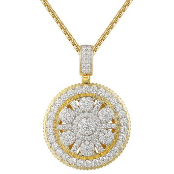 Solitaire Cluster Iced Out Medallion 14k Gold Finish Pendant