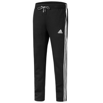 ADIDAS autumn and winter new closing and velvet knit casual trousers black