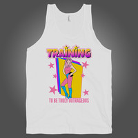 Training to be Outrageous on a White Tank Top