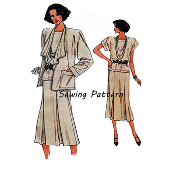 Vogue 9362 Woman's Loose Fitting Jacket, Flared Skirt, Shell Top Size 8-10-12, Bust 31.5- 34in/80-86cm Vintage 1980's Sewing Pattern UNCUT