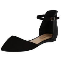 Dolley-21 Ankle Strap D'Orsay Ballet Flats