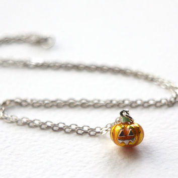 Sale! Precious Pumpkin Necklace, Handmade Sterling Silver and Enamel, Made in Brighton, uk