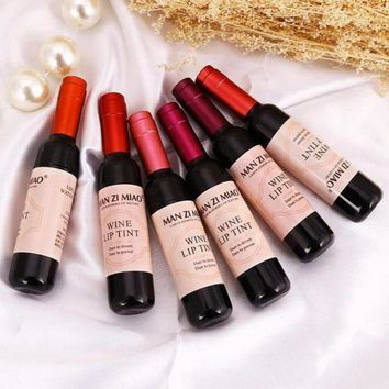 Red Wine Bottle Matte lip tint Lip Gloss Waterproof Long Lasting Lipgloss Moisturize Lip Tint Cosmetic Liquid Lipstick 6 Colors
