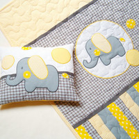 Quilt Baby Crib Applique Elephant  Patchwork Handmade  Nursery Bedding