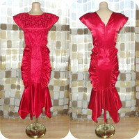 Vintage 80s Sexy RED Ruched Satin Bombshell Wiggle Dress Fishtail Hemline Lace Cocktail 7/S