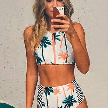2016 White Palm Tree Print Cropped Top & High Waist Bottom Swimsuit for Women