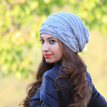 Grey Slouch hat, Slouch knit hat for women, Grey Beanie Hat, Oversized hat, Grey knit hat women, Slouch beanie for women