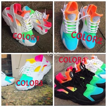 2016 New Nike Air Huarache Running Shoes Huaraches Rainbow Ultra cafe775db