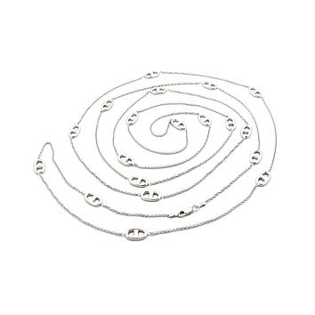 Long Silver Marine Link Necklace, 58""