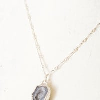 Blue Geode Charm Necklace