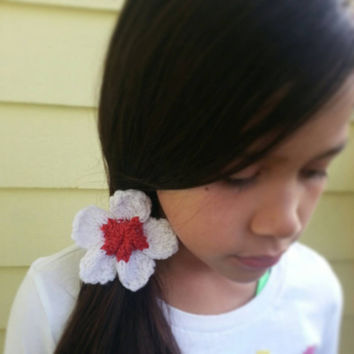 Hand Knit PLUMERIA / FLOWER Elastic Ponytail Holder / Hair Tie Choose from 7 Different Colors