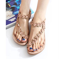 FLOWER BEADED SOFT BOTTOM SANDALS SOFT HIGH QUALITY
