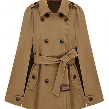 Coffee Double Breasted Cape Coat With Belt