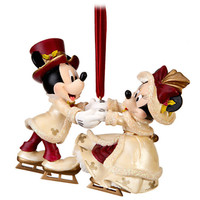 disney christmas ornament victorian minnie and mickey skating new with tags