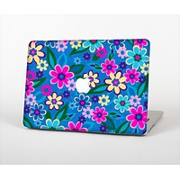 The Bright Pink & Blue Vector Floral Skin Set for the Apple MacBook Air 11""