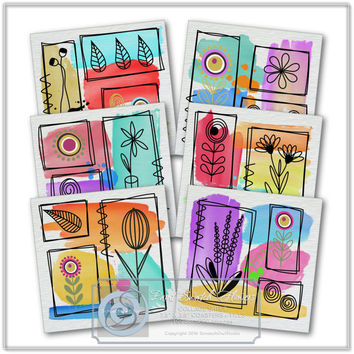Paint Swatch Flowers,Collage Sheet, Digital Coasters,Decoupage,Fabric Transfer,Card Making,Paper Craft Supplies,Printable Images