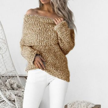 Cowl Neck Off Shoulder Women Knitted Pullover Sweaters 2017 Autumn Winter Draped Fuzzy Slouchy Sweater Femmes Sexy Jumper GV939