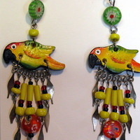 Sun Counre Parrot Earrings Colorful Handmade in Limited Edition