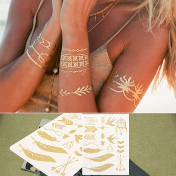 Temporary Tattoo Style Body Art Metallic Gold Flash Tattoos Inspired Waterproof Tattoo Sticker Disposable Jewelry high quality