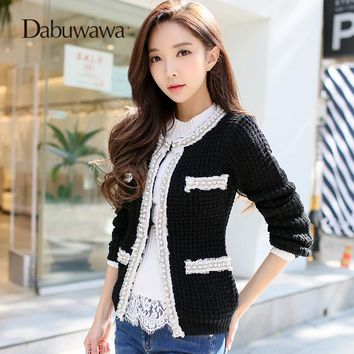 Dabuwawa Black Autumn Winter Long Sleeve Elegant Jacket O Neck Vintage Beading Jacket Women Outwear