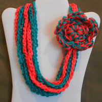 color: Dizzy Izzy // Girls Neon Coral and Bright Green Scarf Necklace with Flower, one size from baby to tween, crochet chain loop scarf