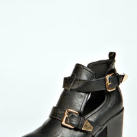 Victoria Buckle Trim Cut Out Boots