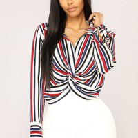 Knot Listening Striped Top - Navy Multi