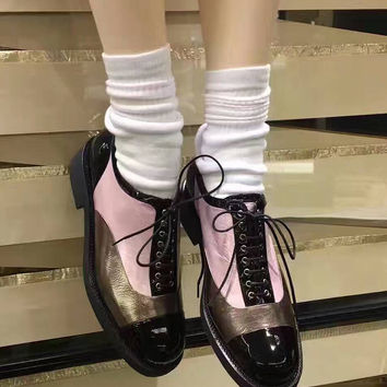 Pink Contrast Lace Up Brogue Shoes