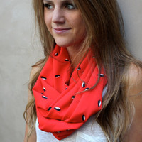 Penguin Eternity Scarf, Infinity Scarf, Black Penguins, Red, Black, White