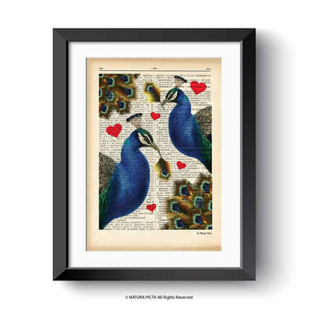 Peacock print-Peacock dictionary print-Peacock couple in love print-Peacock on book page-funny animal print-Peacock decor-NATURA PICTA-DP156