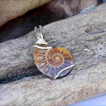Ammonite Fossil Necklace - Wire Wrapped Shell Fossil Jewelry - Natural Ammonite Jewelry - Gypsy Necklace - Ammonite Necklace - Boho Jewelry