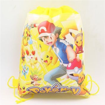 go Non-Woven Fabric Drawstring Bags Kids Favors Gifts Bag 20pcs Birthday Party Decoration Baby Shower Pikachu SuppliesKawaii Pokemon go  AT_89_9