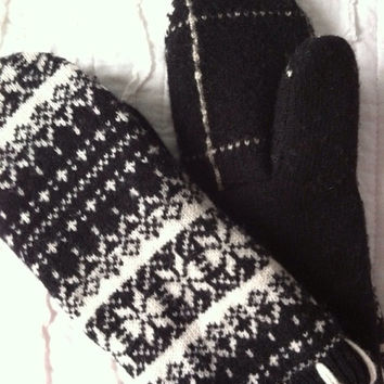 Wool Mittens made from recycled sweaters - Felted  - Fair Isle -  black and white - stocking stuffer