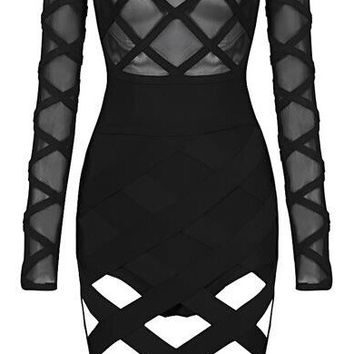 'Karyn' Mesh Bandage Dress - Black