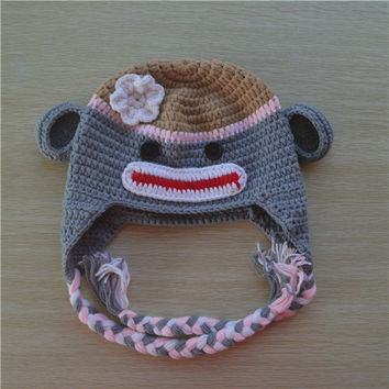 Crochet Grey Sock Monkey Baby Beanie/Hat