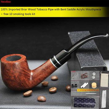 NewBee 10 Tools Kit Briar Wood Bent Smoking Pipe with Dual Silver Ring Decor Acrylic Mouthpiece 9mm Filter Tobacco Pipe aa0062