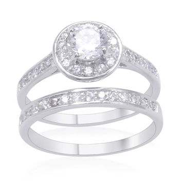 Lab Created Diamond Wedding and Engagement Ring Set in Sterling Silver Nickel Free - Size 6