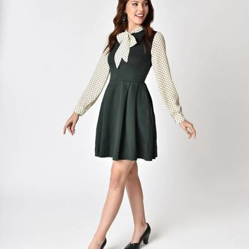 1960s Style Hunter Green & Ivory Dot Long Sleeve Knit Flare Dress